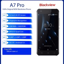 Blackview A7 Pro 4G LTE Mobile Phone 5.0″ MTK6737 Quad Core 2GB RAM 16GB ROM 8MP Dual Rear Camera Fingerprint 2800mah Smartphone