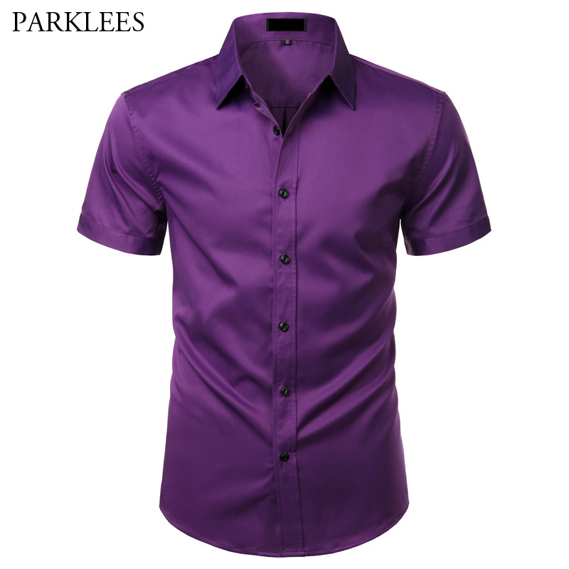 Mens Bamboo Fiber Dress Shirts Casual Slim Fit Short Sleeve Male Social Shirts Comfortable Non Iron Solid Chemise Homme USA Size