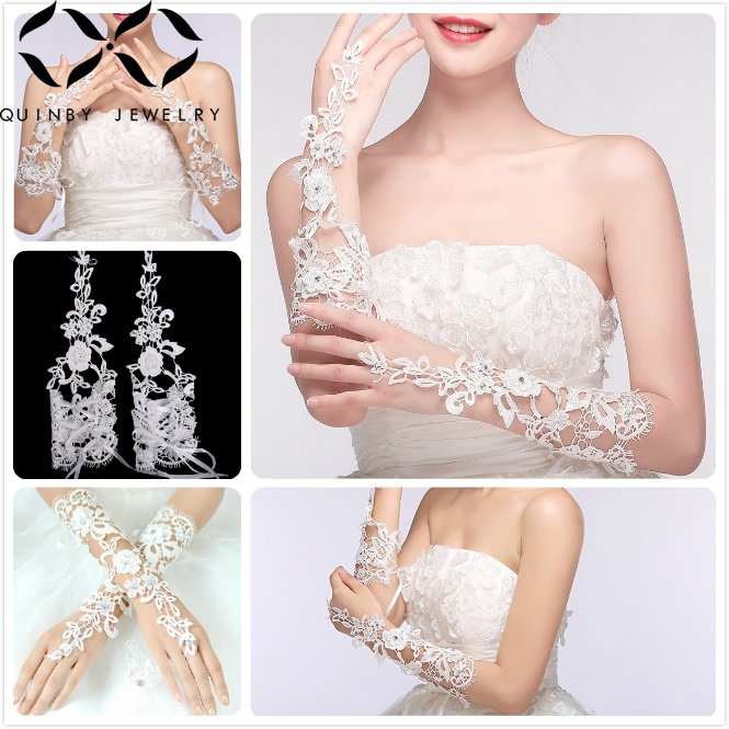 Quinby Wedding Gloves Ivory White Bridal Girl Party Fingerless Flower Lace Glove Ladies Long guantes Accessory Q5