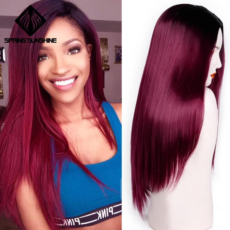 Spring sunshine Long Middle Part Synthetic Wigs Heat Resistant Silky Straight 22inch Burgundy Black Grey Pink Brown