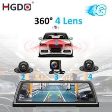 "HGDO H100 4 렌즈 ADAS 자동차 DVR 카메라 비디오 레코더 미러 4G 10 ""미디어 백미러 4 코어 안드로이드 대시 캠 FHD 1080P GPS"