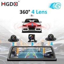 """Hgdo H100 4 Ống Kính ADAS Xe Đầu Ghi Hình Camera Ghi Gương 4G 10 """"Phương Tiện Truyền Thông Gương Chiếu Hậu 4 Nhân android Dash Cam Siêu Nhỏ FHD 1080P GPS"""