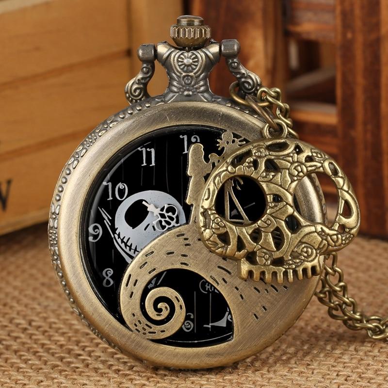 Retro Tim Burton The Nightmare Before Christmas Quartz Pocket Watch Jack Skellington Necklace Pendant Skull Watch With Accessory