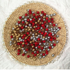 50pcs Mini Berries Plastic Fake Fruit Small Artificial Pearl Flower Stamens Cherry Wedding DIY Gift Box Decorated Xmas Wreaths