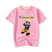 Летние футболки для мальчиков и девочек Новая одежда с рисунком пожарного Сэма детская повседневная хлопковая футболка с короткими рукавами, топы, одежда JY070