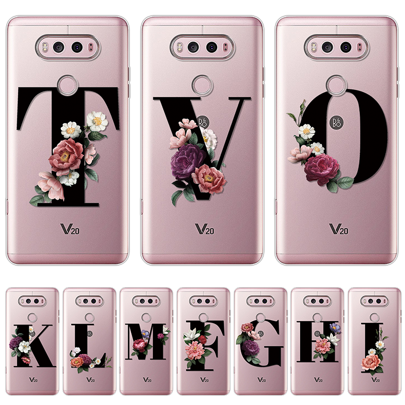 Custom Name Letter Monogram Flowers Silicone Phone Case For <font><b>LG</b></font> G8 ThinQ G6 G5 K4 K8 K10 2017 <font><b>K11</b></font> Plus Back Cover TPU Clear Coque image
