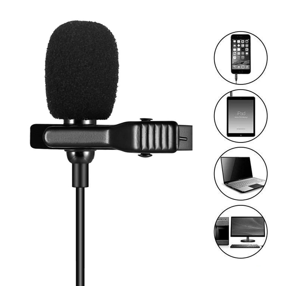 Mini Portable Omnidirectional Metal Microphone 3.5mm Jack Lavalier Tie Clip Microphone Mini Audio Mic For Computer Laptop Phone