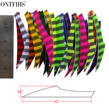 50Pcs ONTFIHS 4 King Striped Feather Archery Fletches Huntting Arrrow Fletching Accessories Shooting