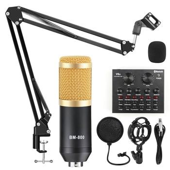 bm 800 Microphone Studio Recording Kits bm800 Condenser Microphone for Computer Phantom Power bm-800 Karaoke mic Sound Card bm 800 condenser microphone kits professional bm800 adjustable studio microphone bundle karaoke microphone recording broadcast