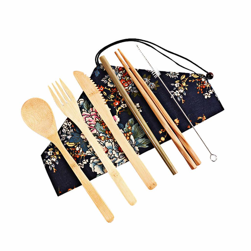 7Pc Houten Bestek Bestek Set Bamboe Stro Servies Set Met Case Messen Vork Lepel Gerechten Eetstokjes Reizen Tool
