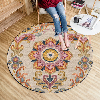 Ethnic style round rug European-style mandala retro mat living room bedroom computer chair coffee table sofa home carpet