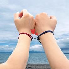 Ensemble de bracelets à lien magnétique pour Couple, cadeau de la saint-valentin, sur mesure, ajustable, sur la montagne de la mer, amour éternel