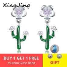 2019 New Summer 925 Sterling Silver Dazzling Green Cactus flower Crystal Stud Earrings for Women Fashion Jewelry free shipping