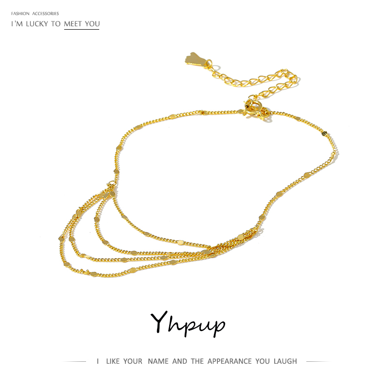Yhpup Exquisite Women Layered Chain Anklet Barefoot Sandals Foot Jewelry Fashion Gold Metal Foot Anklets 2020 Beach Gift брелок