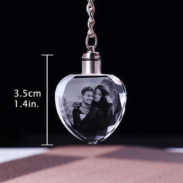 Custom K9 Crystal Key Chain Personalized Photo Pendant Picture Key Ring Trinket Laser Engraved LED Light Keychain Unique Gift 5