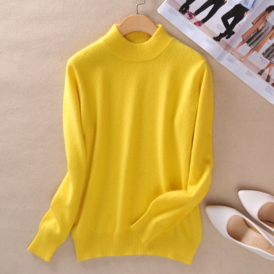 Women Cashmere 2021 New Autumn Winter Vintage Half Turtleneck Sweaters Plus Size Loose Wool Knitted Pullovers Female Knitwear11 11