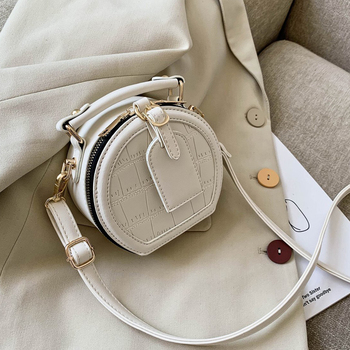 Round Stone Pattern Solid Color Simple PU Leather Crossbody Bags For Women 2020 Summer Travel Mini Shoulder Handbags