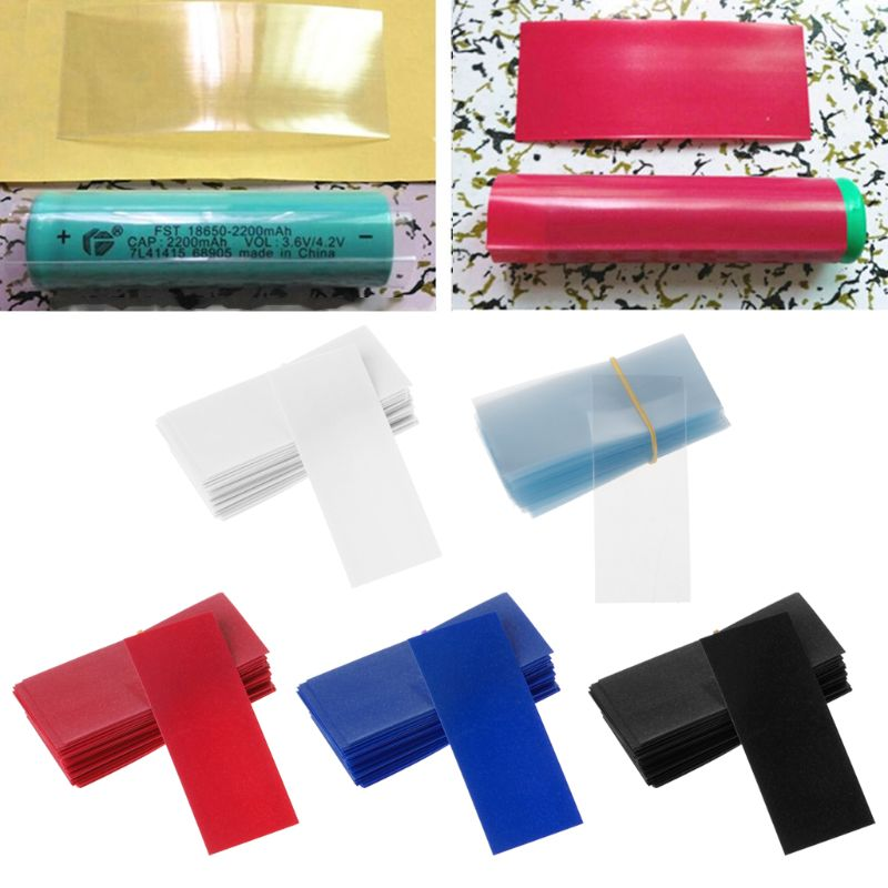 100PCS PVC Heat Shrink Tubing 18650 Battery Wrap Precut Size 72*30mm Battery Film Tape Battery Cover 5 Color Whosale
