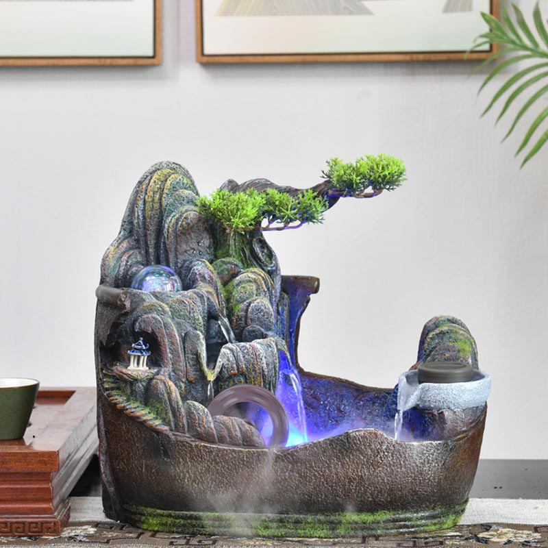 220V Rockery <font><b>Water</b></font> <font><b>Fountain</b></font> Feng Shui Wheel Indoor <font><b>Fountains</b></font> Tabletop Waterfall Ornaments Micro Landscape <font><b>Home</b></font> <font><b>Decor</b></font> Crafts Gift image