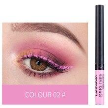 Handaiyan delineador líquido de maquiagem, delineador de olho à prova d'água de 12 cores preto branco rosa com glitter tslm2