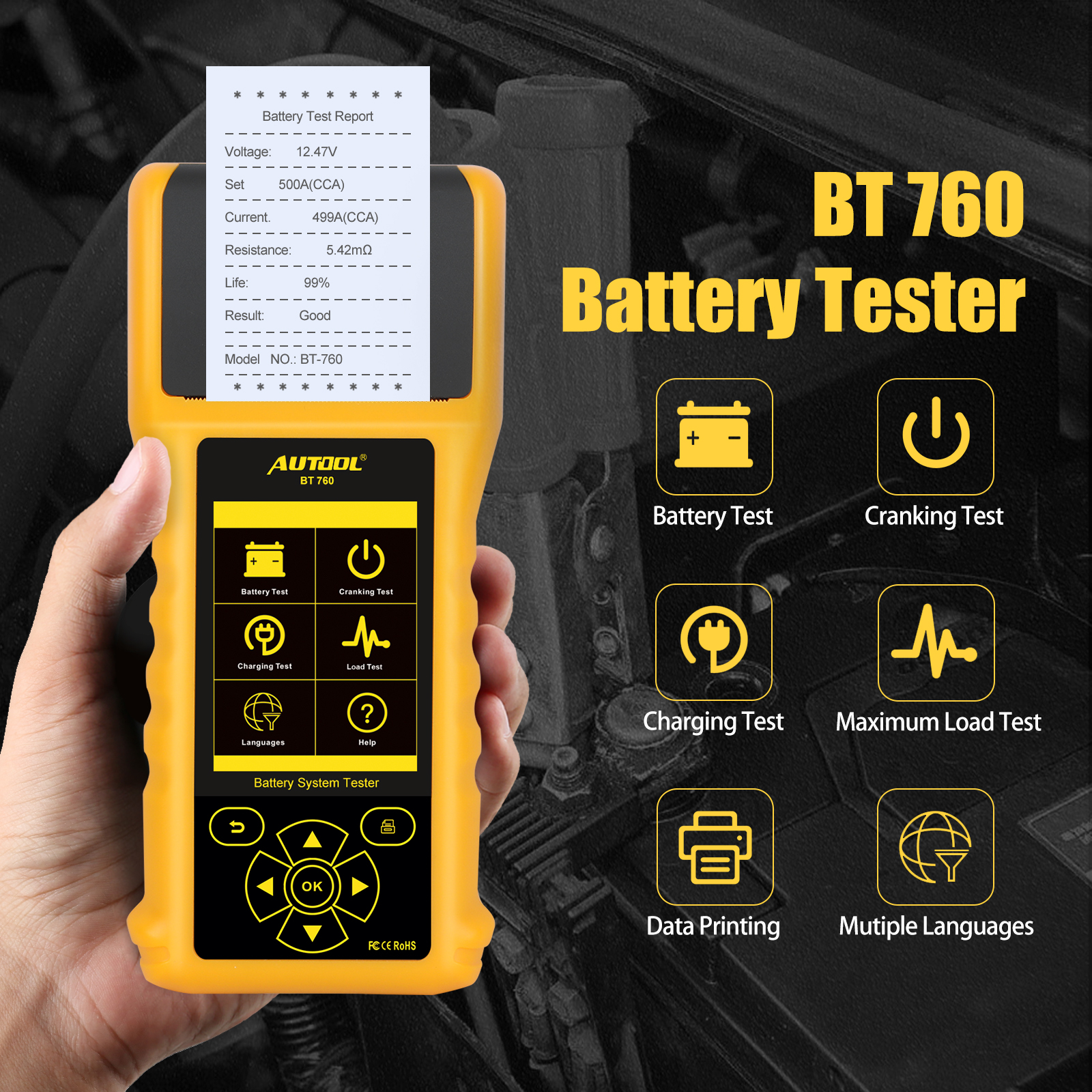 AUTOOL BT760 12V 24V Car Battery Tester 10-2200CCA Car Battery Analyzer Quick Cranking Charging Diagnostic with Thermal Printer