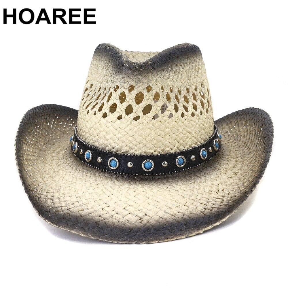 HOAREE Handmade Western Cowboy Hat Womens Summer Hats Female Wide Brim Sombrero Sun Protective Beach Sun Hats