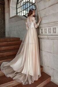 Image 3 - Vestidos De Noiva ยาวแขน Scoop ลูกไม้ Appliques ปุ่ม Illusion Sweep Train ชุดเจ้าสาวงานแต่งงาน
