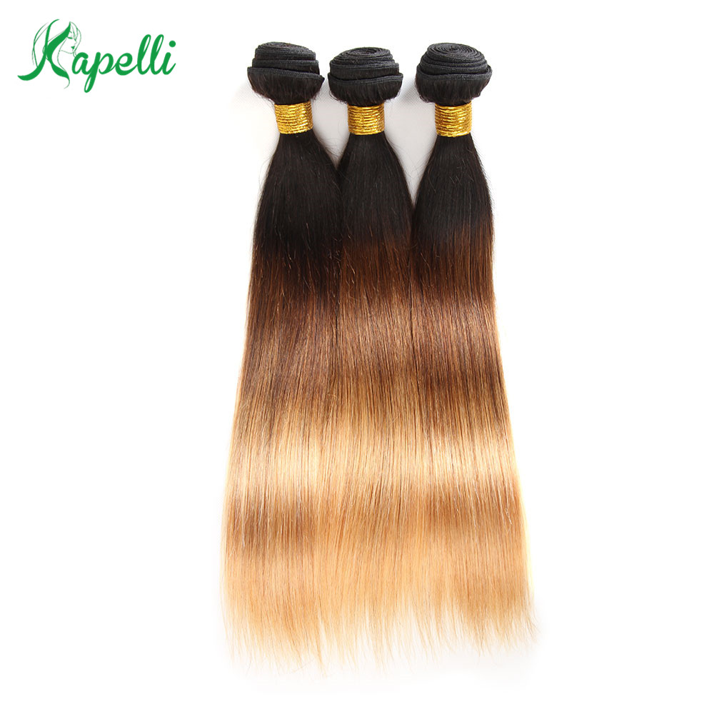T1B 4 27 Straight Human Hair 3 Bundles Ombre Brazilian Human Hair Weave Bundles Ombre Hair