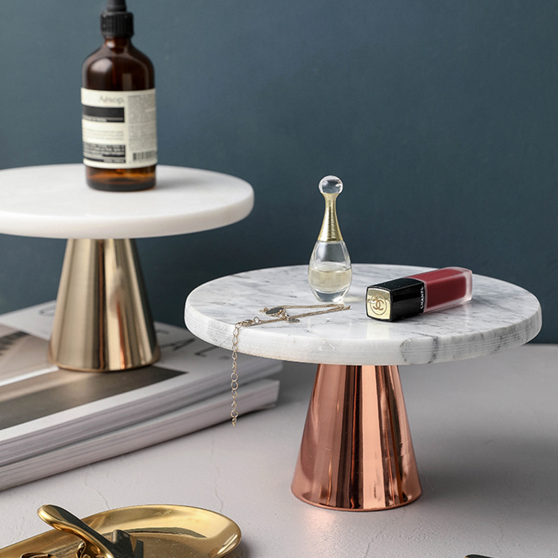 Nordicmarbre plateau d'exposition gâteau Dessert | Décoration moderne minimaliste, accueil fruits Snack plateau à pain, outils de maquillage, bijoux présentoir