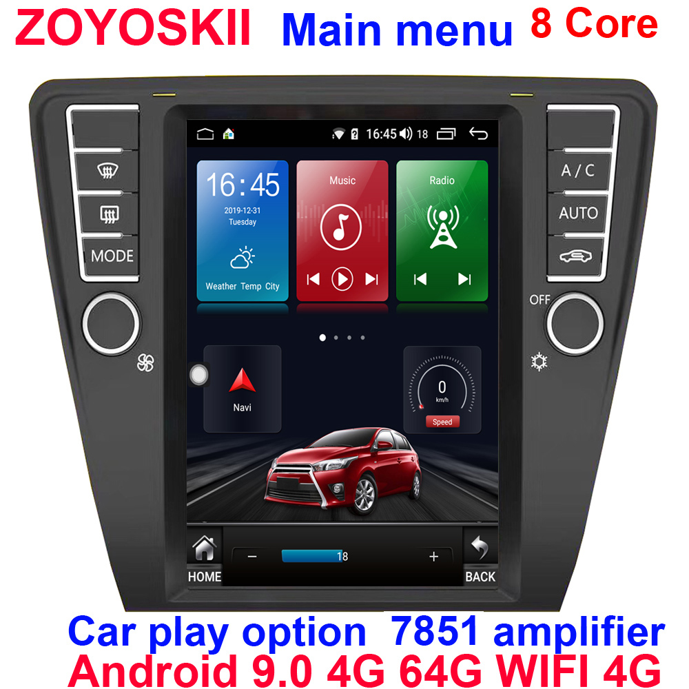 Android 9.0 Os 10.4inch Car Multimedia GPS For Skoda Octavia 2015-2019 Radio Vertical Screen Carplay Option Tesla Style