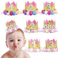 Gorros de fiesta de feliz primer cumpleaños, gorro de decoración, sombrero de un cumpleaños, corona de princesa, primer, segundo y tercer año, accesorio para el cabello de niños