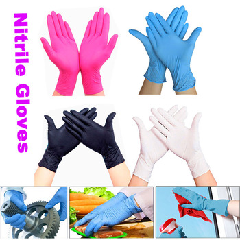 Hot Gloves  White Blue disposable nitrile gloves Latex for household cleaning products industrial washing, tattoo S,M,L - discount item  70% OFF Workplace Safety Supplies