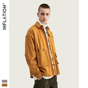 Image 2 - INFLATION DESIGN koszula męska luźny krój z długim rękawem koszula męska Solid Color z Grandad Collar Streetwear Oversized koszula męska 92153