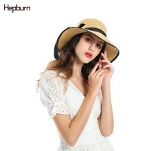 Hepburn brand 2019 New block UV foldable sun protection panama hat summer straw women big wide brim beach