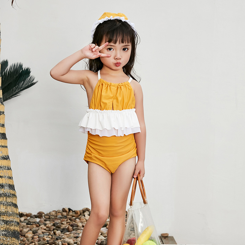 KID'S Swimwear Girls One-piece Princess Dress Tour Bathing Suit Big Boy GIRL'S Cute South Korea Sun-resistant Baby Swimwear