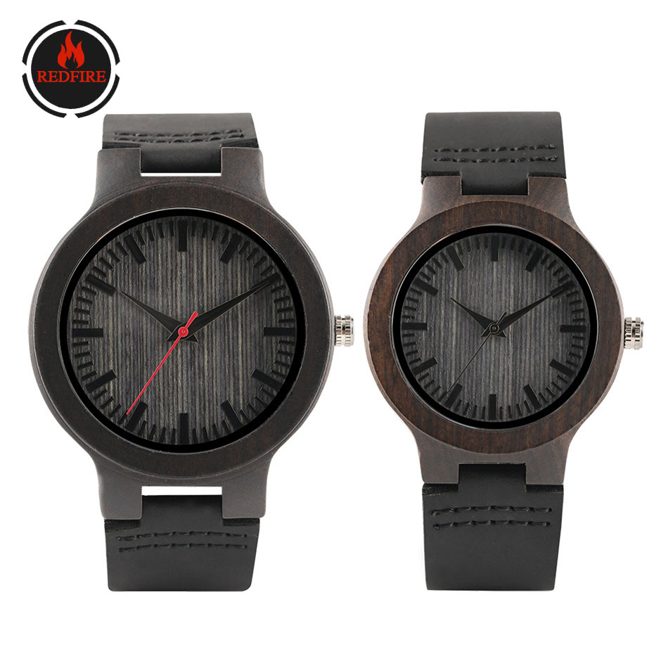 REDFIRE Couple Wood Watches Quartz Wooden Timepiece Minimalist Genuine Leather Lovers Watch Ebony Clock Valentine's Day Gift