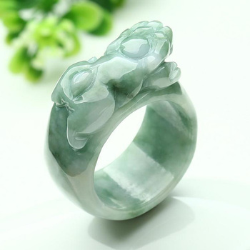 (Certificate) Drop Shipping Natural Light Green AAA Grade Jadeite Jade Ring Finger 3D Carved PIXIU Gift For Men's  Jewelry 5