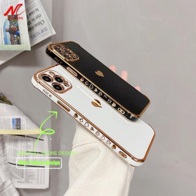 حافظة لهاتف آيفون 12 برو ماكس 11 X XS XR XSMAX SE2020 8 8Plus 7 7Plus غطاء سيليكون على شكل قلب الحب