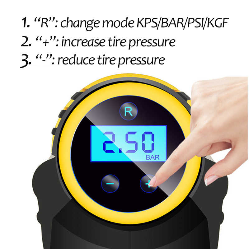 120W Draadloze Auto Luchtcompressor Handheld USB Oplaadbare Band Inflator Digitale Luchtpomp Manometer Auto Accessoires