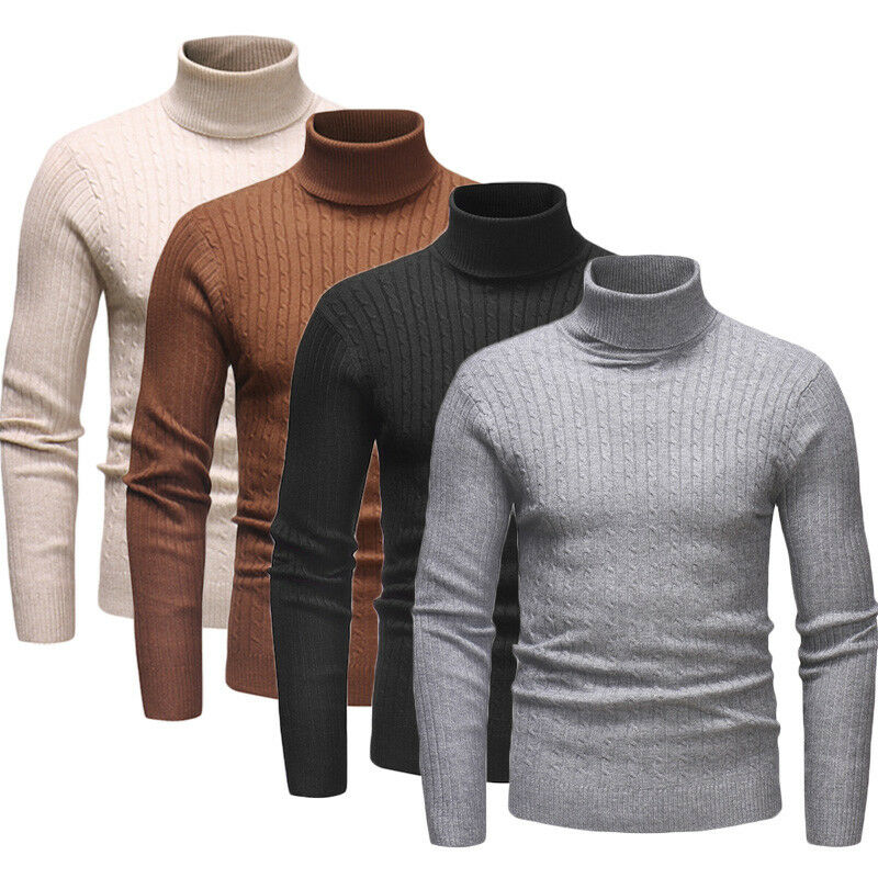 New Fashion Mens Cotton Turtle Neck Turtleneck Sweaters Stretch Shirt Tops Plus Size