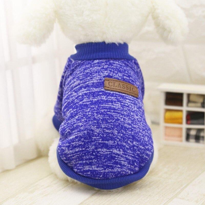Одежда для собак, теплый свитер, мягкая куртка для чихуахуа, одежда для собак, одежда для щенков, куртка для собаки, зимняя одежда для маленьких собак - Цвет: Синий