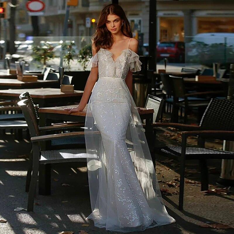 Verngo Mermaid Wedding Dress Boho Lace Wedding Gowns Backless Elegant Bride Dress Off The Shoulder Vestidos De Novia 2020