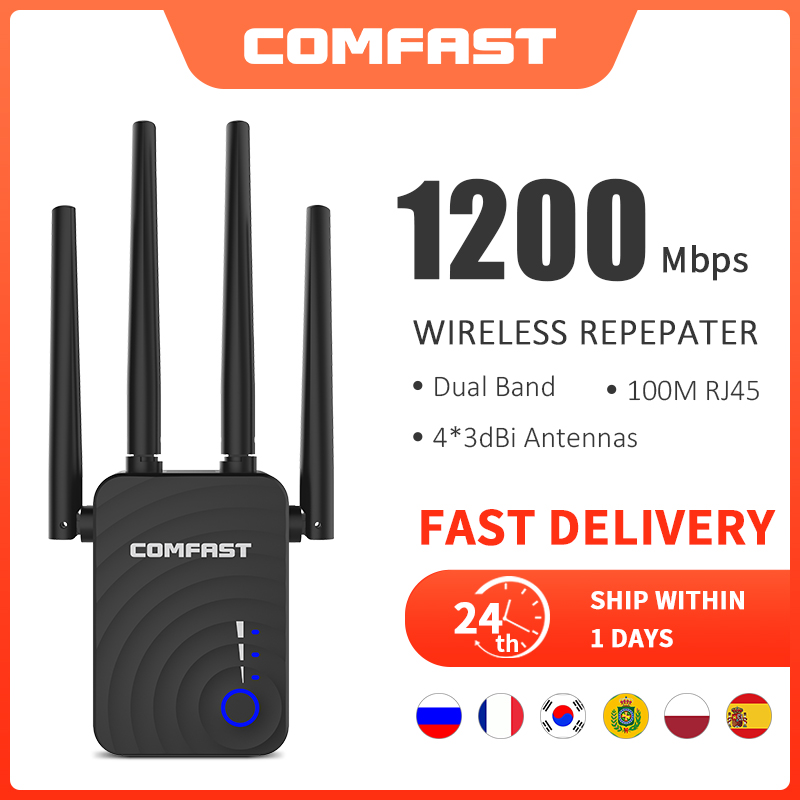 Long Range Extender 802.11ac Wireless WiFi Repeater Wi Fi Booster 2.4G/5Ghz Wi-Fi Amplifier 300/1200 M wifi router Access point 1