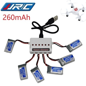 JJRC H8 Mini Original de la batería de 3,7 V 260mAh Lipo batería y batería (6in1) cargador para JJRC H8 JJRC H8 pieza de Dron cuadrirrotor RC H8Mini