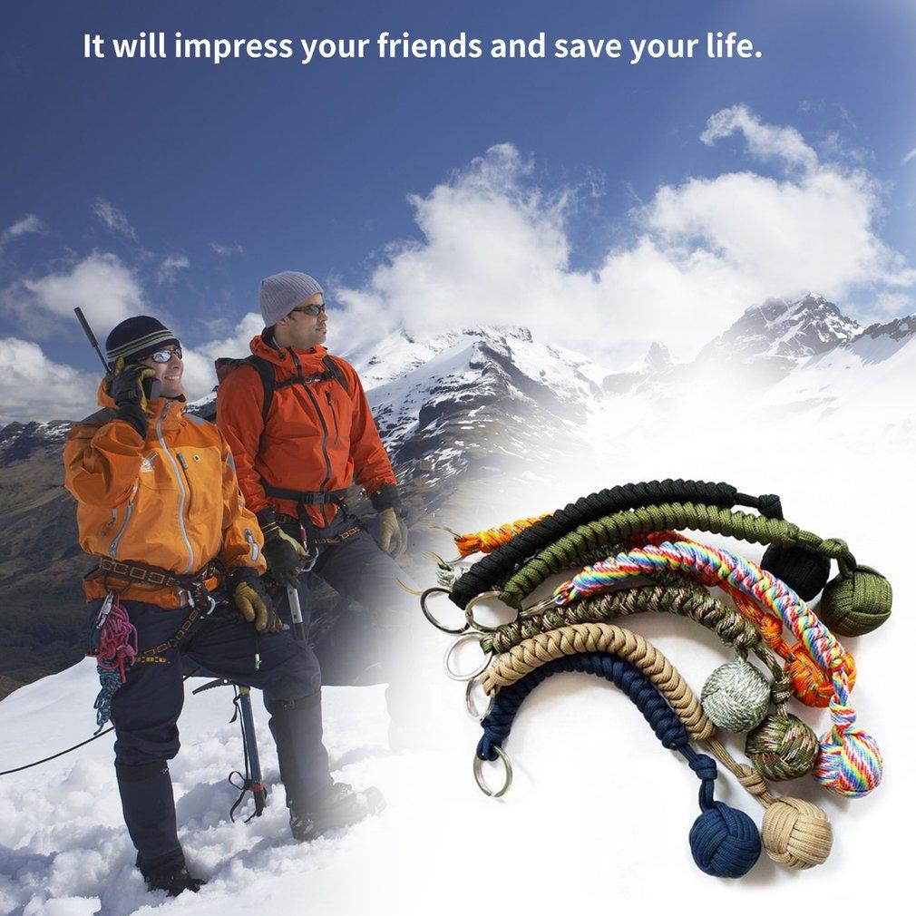 1PCS Portable Outdoor Self-defense Survive Hanging Knot Ball Hand Weaving Umbrella Rope Body Ball Key Chain Pendant