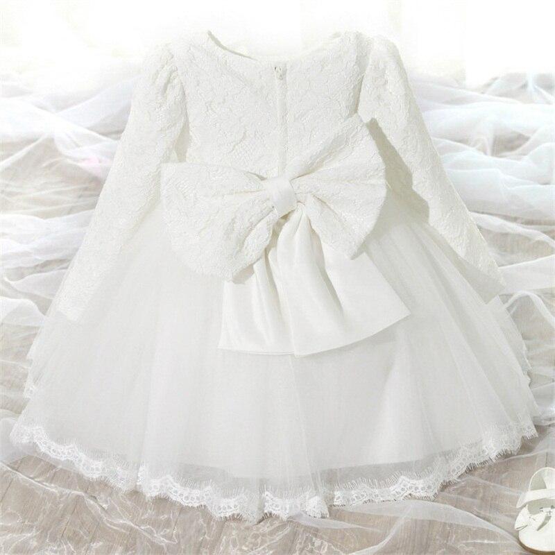 Robe à manches longues pour bébé fille, tenue de princesse en dentelle, élégante, blanche, motif floral, pour baptême
