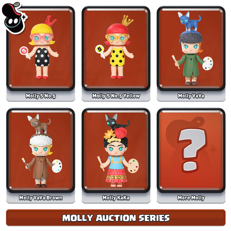 Molly leilão popmart brinquedos figura de ação caixa cega artista pintor vincent van gogh salvador dali presente do miúdo brinquedo