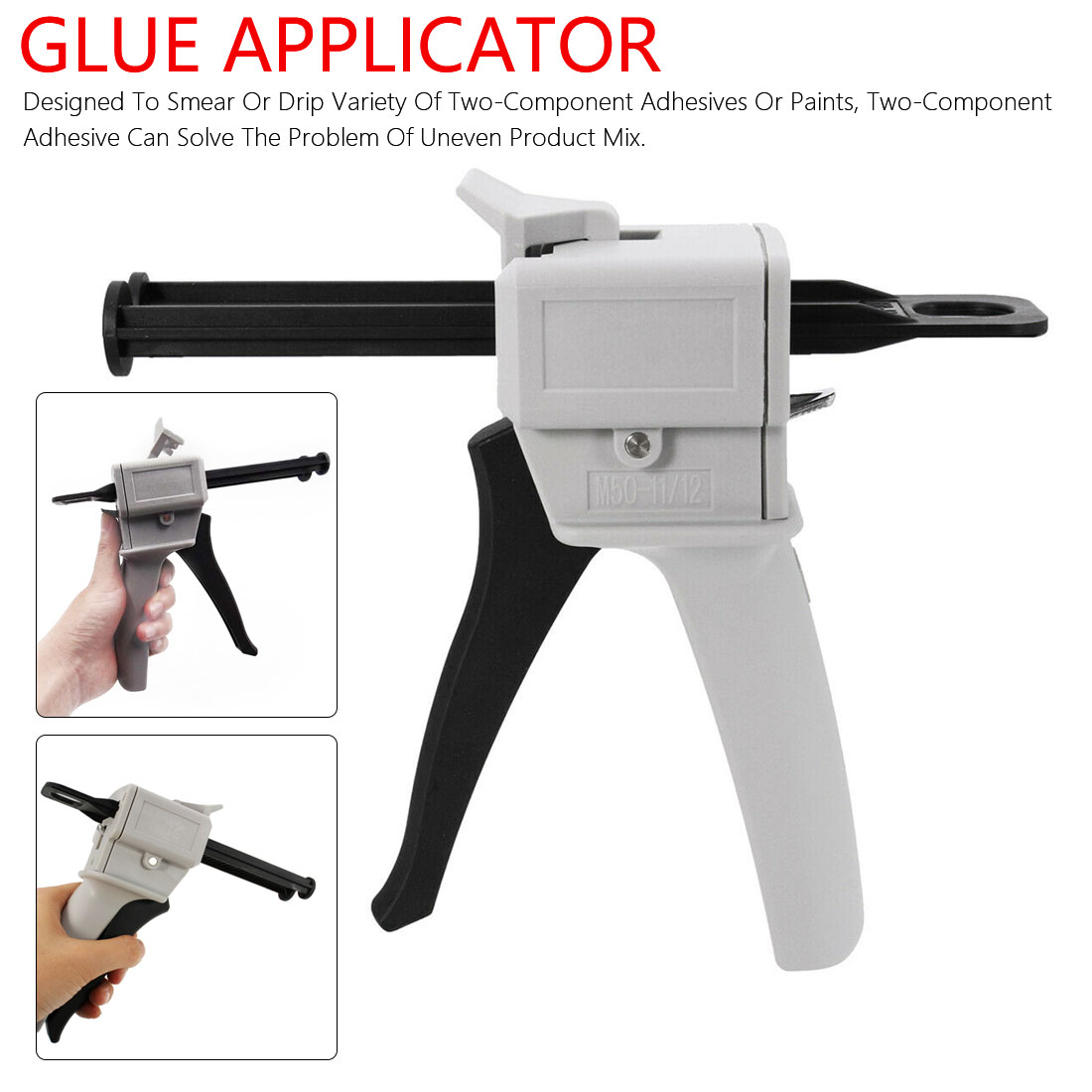 Glue Gun 50ml Two Component AB Epoxy Sealant Glue Gun Applicator Glue Adhensive Squeeze Mixed 1:1 Manual Caulking Gun Dispenser