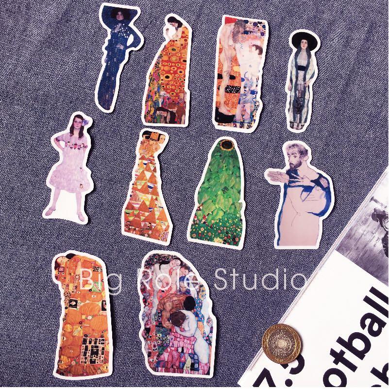 10PCS Gustav Klimt Suitcase Sticker Refrigerator Guitar Notebook Ipda Waterproof Sticker Children Sticker