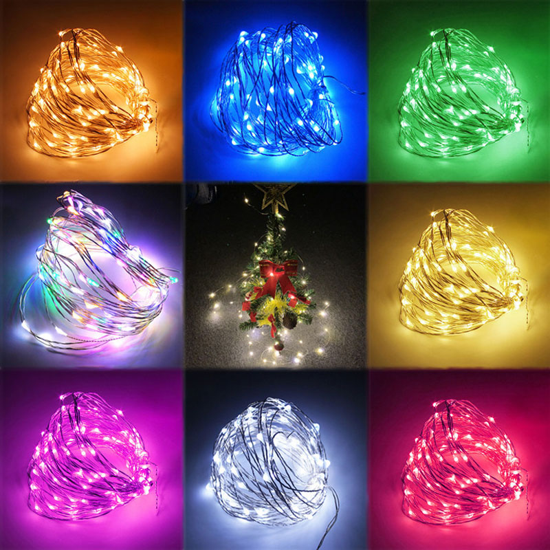 New Year 2020 Gifts 10M/5M/2M LED Garland Copper Wire String Fairy Lights Noel Christmas Decorations for Home Xmas Tree Decor 13